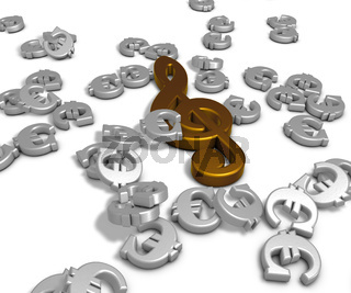 notenschlüssel und eurosymbole - 3d rendering