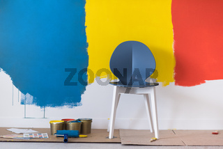 empty chair and equipment for painting