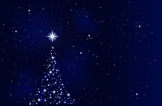 peaceful starry night with christmas tree - Starry Christmas