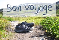 Shoes On Trekking Path, Bon Voyage Means Good Trip