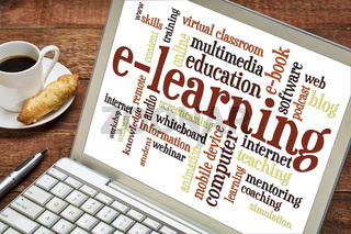 e-learning word cloud on laptop