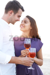 Happy couple in love at the summer picnic