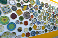 Portuguese pottery at the wall of the pottery shop Artesanato A Mo, Sagres, Algarve, Portugal