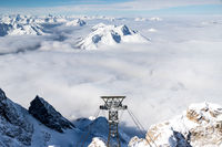 Look down from the Zugspitze, the highest mountain in Germany