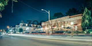 night long exposure in town of east greenwich street