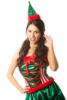 Full length woman wearing elf clothes, holding a wisp of hair