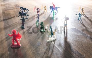 Miniature figures toys on the floor