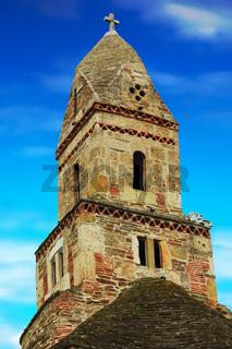 the tower of Densus church in Hunedoara