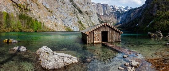 Panorama of Obersee mountain lake in Alps
