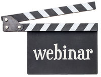webinar text on clapboard