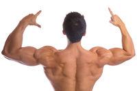 Bodybuilder Bodybuilding Muskeln Rücken stark muskulös jung Freisteller