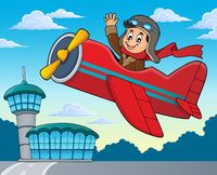 Pilot in retro airplane theme image 2 - picture illustration.