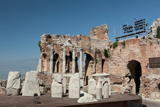Ancient greek theater of Taormina, Sicily, Italy