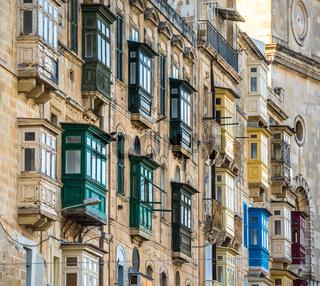Street of Valletta with traditional balconies, Malta