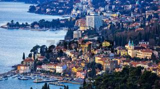 Opatija riviera bay bay and coastline panoramic view