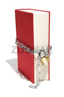 Rotes Buch mit Vorhängeschloss