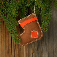 Christmas wood background with tree and boots banner