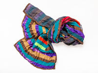 knotted stitched patchwork scarf from silk strip