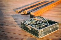 Wooden box with screws