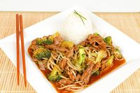 asian beef with broccoli and rice