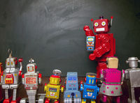 Big red robot toy teaches his class ,