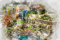 Digital watercolor painting of Fontvieille. Principality of Monaco