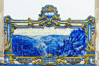 Hand-painted ceramic tiles, azulejos, depicting the Douro Valley, Pinhao, Portugal