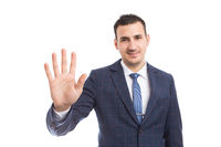 Banker or broker showing number five or fifth with fingers