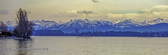 View from the Island Reichenau to the Alps in Vorarlberg
