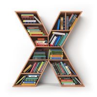 Letter X. Alphabet in the form of shelves with books isolated on white.