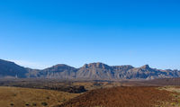mountain landscape panorama, desert valley with clear blue sky background -