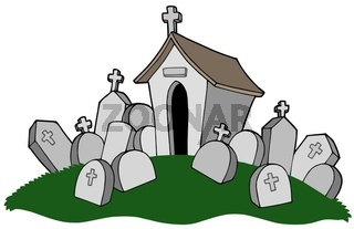 Cemetery with tomb - isolated illustration.