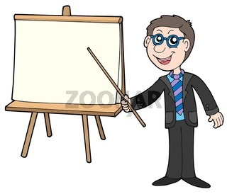 Businessman with table - isolated illustration.
