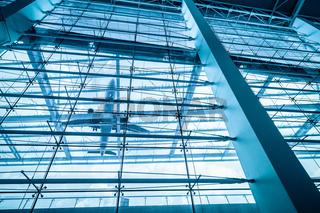 upward view of airport terminal