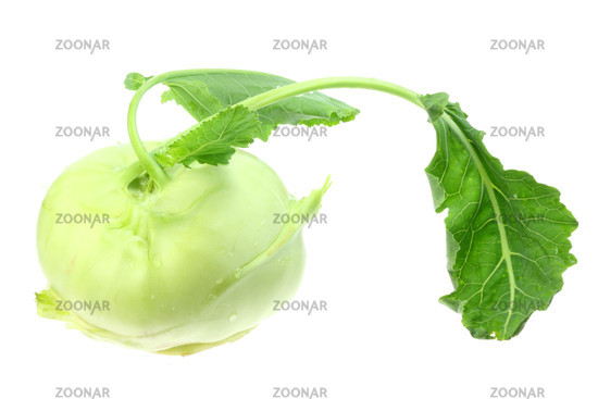 Kohlrabi on white
