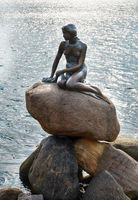 The monument of the Little Mermaid in Copenhagen, Denmark