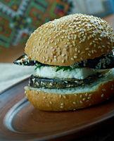 Grilled Eggplant and Portobello  Sandwich