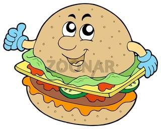 Cartoon hamburger on white background - isolated illustration.