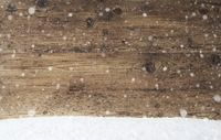 Rustic Wooden Texture, Background With Snowflakes, Copy Space, Snow