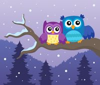 Stylized owls on branch theme image 1