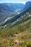 Mountain pass Katu-Yaryk from Ulagan Highlands to the waly of river Chulyshman in Altai mountains