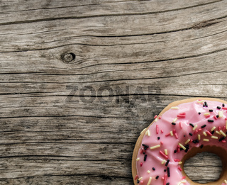 Bright Pink Donut On Table