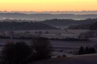 morning mood, sunrise, fog, alps,