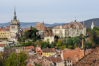 View over Sighisoara town, Romania