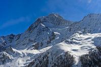 Snow-covered peak Aletschhorn above the Lötschental valley, Blatten, Loetschental,Switzerland