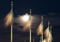 Floodlit view of flags by Washington Monument