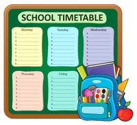Weekly school timetable composition 5 - picture illustration.
