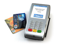 POS terminal with credit cards isolated on white background. 3d