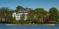 Rowing on lake Alster