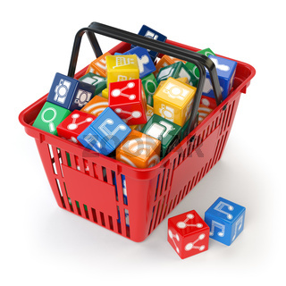 Application software icons  boxes in the shopping basket  isolated on white background. Store of apps concept.